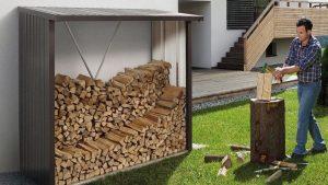 abri à bois en métal